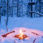 oheň na snehu